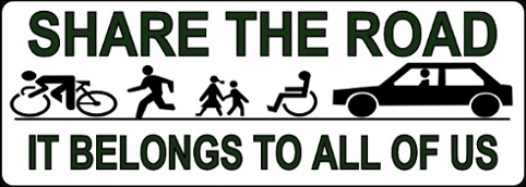 share the road bumper sticker small